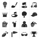 Black golf and sport icons. Vector icon set Royalty Free Stock Photos