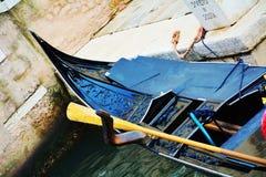 Black gondola parked, in Italy, Europe Royalty Free Stock Image