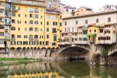 Black Gondola Under Ponte Vecchio Royalty Free Stock Image