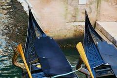 Black gondolas parked, in Italy, Europe Stock Photography