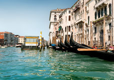 Black gondolas in Venice Stock Photos