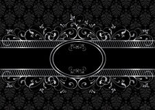 Black gothic background. Background with decorative frame, illustration Stock Images