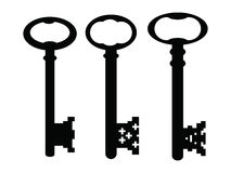 Black gothic vintage keys. Old-fashioned black keys on a white background Royalty Free Illustration