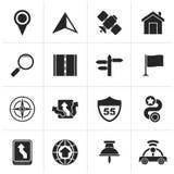 Black Gps, navigation and road icons stock illustration