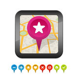 Black gps navigator icon with labels Royalty Free Stock Photography