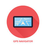 Black gps navigator with street map flat style icon. Wireless technology, navigation equipment sign. Vector illustration Stock Photo
