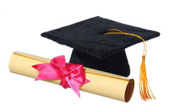 Black Graduation Cap with Degree isolated on White Royalty Free Stock Photo
