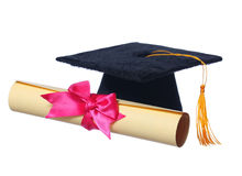 Black Graduation Cap with Degree isolated Royalty Free Stock Photo