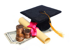 Black Graduation Cap and Degree with Money Royalty Free Stock Image
