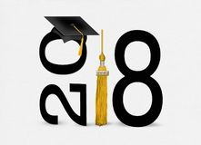 Black 2018 Graduation Cap With Gold Tassel Stock Illustration