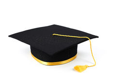Black graduation cap isolated Royalty Free Stock Photography