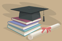 Black graduation cap, mortarboard and diploma scroll, made with gradient mesh Stock Image