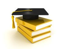 Black graduation cap on pile of books over white. 3d Royalty Free Stock Photos