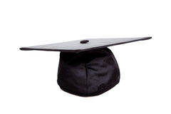 A Black graduation cap on white Stock Image