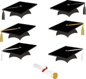 Black graduation caps Stock Images