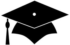Black Graduation Hat. Graduation cap designs for graduates Royalty Free Stock Images