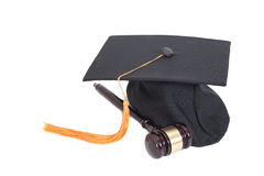 Black Graduation Hat  and Gavel Stock Images