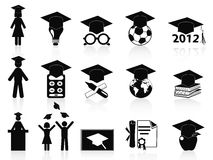 Black Graduation icons set. Black Graduation icons set from white background Stock Image