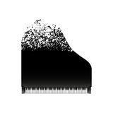Black grand piano with flying notes, top view. Vector, isolated on white Royalty Free Stock Image