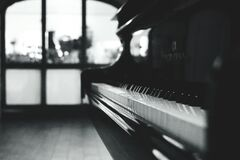 Black Grand Piano Gray Scale Photo Royalty Free Stock Images
