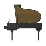 Black grand piano isolated vector illustration. Black grand piano isolated on white background. Classical white black musical keyboard sound instrument. Vector Stock Images