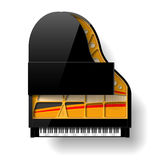 Black grand piano with open top Royalty Free Stock Photos
