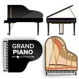 Black Grand Piano Set Icon Vector With Shadow. Realistic Keyboard. Isolated Illustration. Top And Back View Royalty Free Stock Image