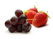 Black grape and strawberry Stock Photo