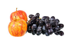 Black grapes and apple Royalty Free Stock Image