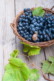 Black grapes in a basket Stock Photo