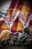 Black Grapes on a Table Stock Photo