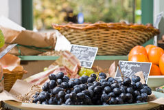 Black grapes in shop Royalty Free Stock Image