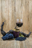 Black grapes, vine, jam and drink Royalty Free Stock Images