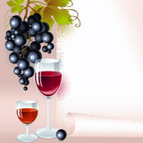 Black grapes with wine and brandy. menu. Brush of black grapes with leaves, glass of red wine and glass of brandy on the background of your space for text. menu stock illustration