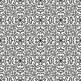 Black graphic flower pattern on white background Royalty Free Stock Photography