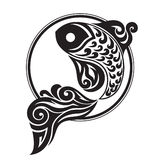 Black graphically drawing of a fish Royalty Free Stock Images