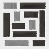 Black and gray adhesive, sticky, masking, duct tape, paper strips for text on squared background. Black and gray adhesive, sticky, masking, duct tape, paper Royalty Free Stock Images