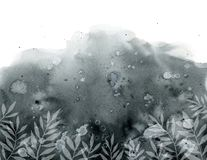 Black gray background with stained blots and white plants royalty free illustration