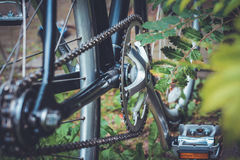 Black and Gray Bicycle Plate With Pedal Stock Photo