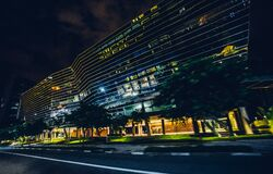 Black and Gray Buildings Lighted during Night Time Royalty Free Stock Photo