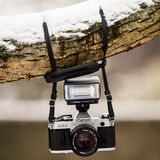 Black and Gray Canon Dslr Camera Hanging on Brown Tree Trunk With Snow Stock Image