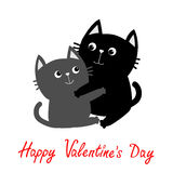 Black Gray Cat hugging couple family. Hug, embrace, cuddle. Cute funny cartoon character. Happy Valentines day Greeting card. Kitt Stock Photos