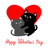 Black Gray Cat hugging couple family. Hug, embrace, cuddle. Red heart. Cute funny cartoon character. Happy Valentines day Greeting Royalty Free Stock Photos