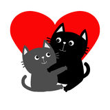 Black Gray Cat hugging couple family. Hug, embrace, cuddle. Red heart. Happy Valentines day Greeting card. Cute funny cartoon  Stock Images