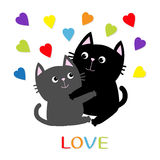Black Gray Cat hugging couple family. Rainbow color hearts Hug, embrace, cuddle. Love Greeting card. Cute funny cartoon character. Stock Photos