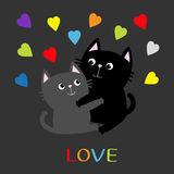 Black Gray Cat hugging couple family. Rainbow color hearts Hug, embrace, cuddle. Love Greeting card. Cute funny cartoon character. Stock Photo