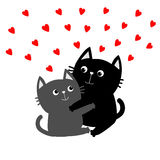 Black Gray Cat hugging couple family. Red hearts Hug, embrace, cuddle. Happy Valentines day Greeting card. Cute funny cartoon char Stock Image