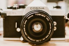 Black and Gray Cosina 35 Mm Film Camera Stock Image