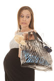 Black and gray dress bag up funny expression Stock Image