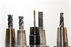 Black Gray Drill Bit Set Stock Photo